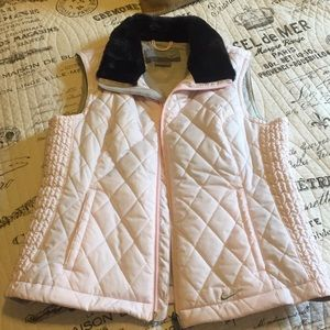 Pink with Black Faux Fur Collar Nike Puffer Vest